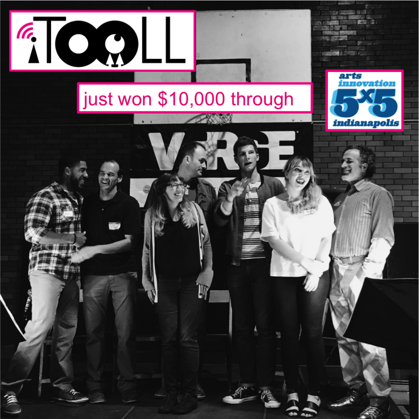 iTooLL won the Indy 5x5 10000 dollar award. Photo of Sukie Conley with the judge panel of Indy 5x5